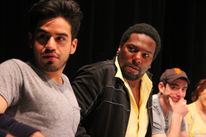 """Moises Castro, Reginald André Jackson, and Riley Shanahan in our recent workshop of """"John Baxter is a Switch Hitter."""" Photo Credit: Jeff Carpenter."""